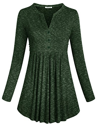 st Tops Womens Flattering Long Sleeve Loose Fitted Split V Neck Shirts Sexy Button Embellished Basic Dressy Round Swing Highwaist Casual Tunics Army Green XL ()