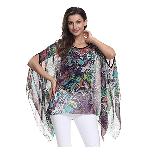 (FeelMeStyle Women Floral Oversized T Shirt Half Dolman Sleeve Chiffon Blouse )
