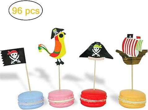 XUNKE 48 Piezas Piratas Pastel Topper Cupcake Picks Kuchendeko para ni/ños Ducha de Beb/é Fiesta de Cumplea/ños DIY Decoraci/ón Suministros