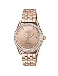 Citizen FE6113-57X Eco-Drive Crystal Accent Rose-Tone Ladies Watch