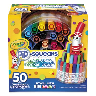 Pip-Squeaks Telescoping Marker Tower, Assorted Colors, 50/Set