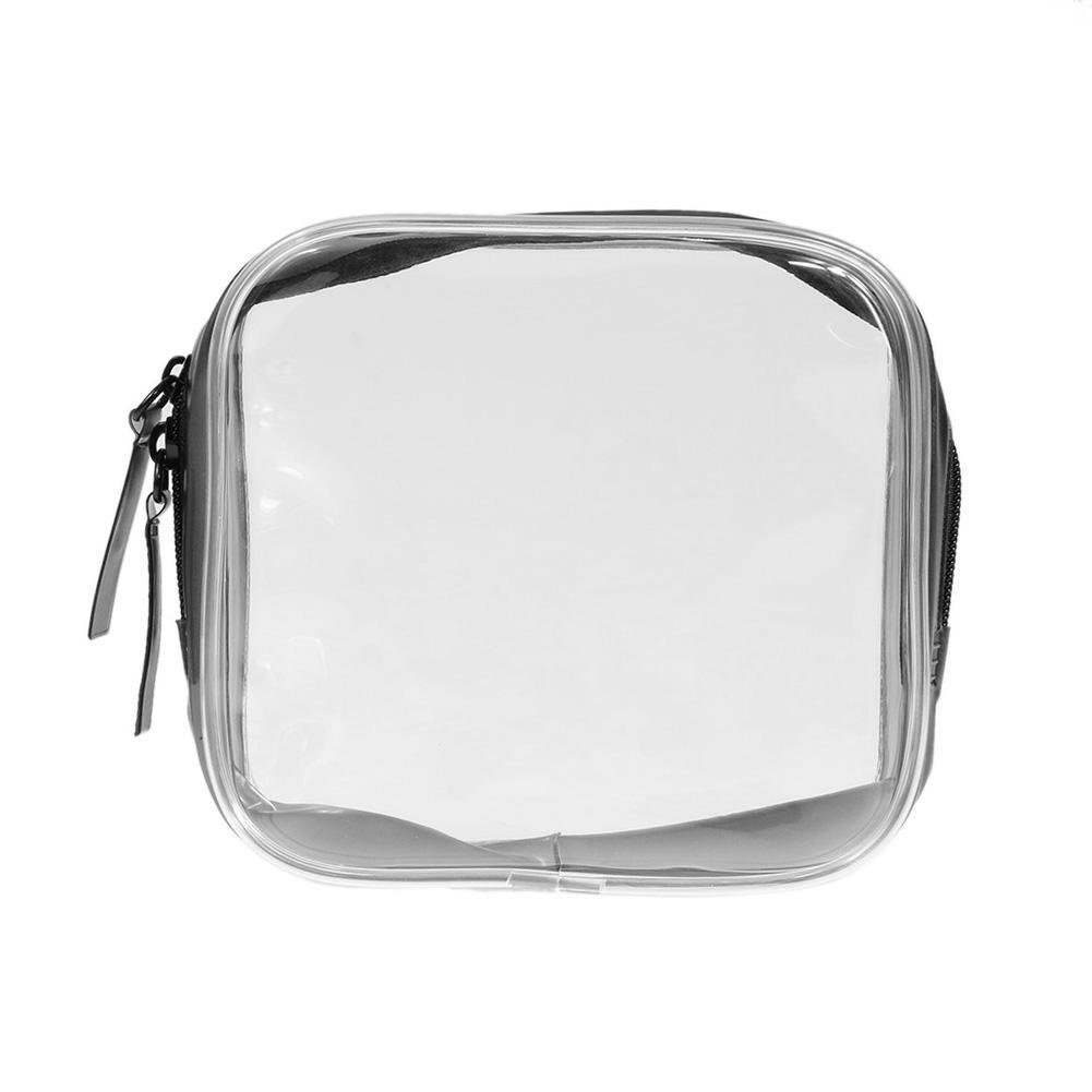 Demiawaking Clear PVC Cosmetic Bag Travel Toiletry Makeup Storage Organiser Bag Zippered Luggage Carry Pouch (S)