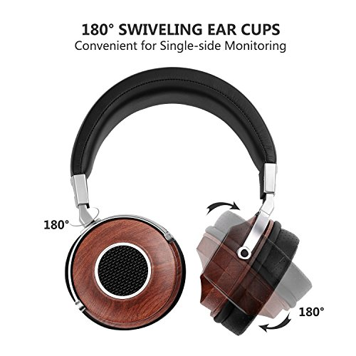 SIVGA SV007 HiFi Stereo Headphones, Wooden Open Back Headset with 50mm Driver and Case, Rosewood