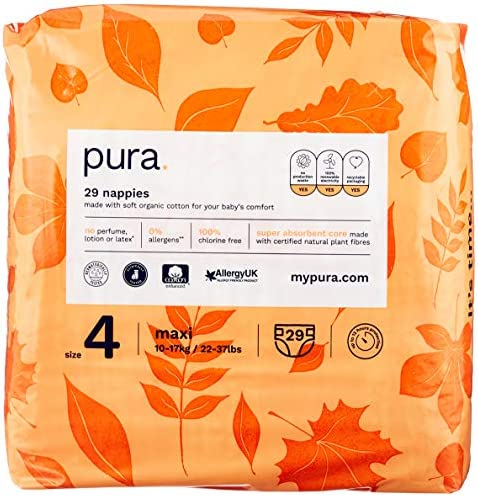 FSC Certified Natural Plant Fibres Environmentally Friendly 132 Total Newborn 2-5kg // 4-11 lbs 6 Packs of 22 Nappies Pure Pura Premium Eco Baby Nappies Size 1