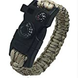 15 in 1 Paracord Bracelet with built in Compass and Thermometer (Beige) great Survival Tool for use in Camping, Hiking, Hunting, Skiing, Biking and more