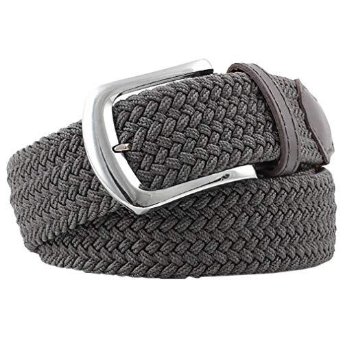 Bigood Womens All-match Stretch Belt Canvas Elastic Braided Woven Belts Dark Grey