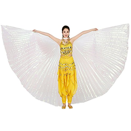 White Professional Belly Dance Costume (YINUOWEI Women Exotic Belly Dance Isis Full Wings, Belly Dance Opening Isis Wings, Egypt Costume Gift for Party, 360 Degree Extension (White(Full)))