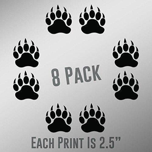 - CMI ND025 Bear Paw Prints 8-Pack | 2.5-Inches | Premium Quality Black Vinyl
