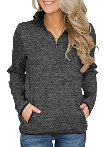 AlvaQ Casual Sweatshirts for Women Plus Size Long Sleeve 1/4 Zipper Pullovers Tunic Tops Jacksts with Pockets Black 1X