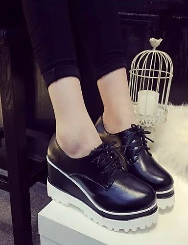 black Tray a heel White heels Women 7 Cn37 Round 5 Eu37 Nero Hug Njx leatherette Wedges Shoes Uk4 5 5 casual us6 SqywzWyI8