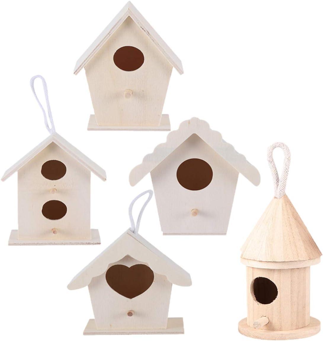 EXCEART 5 Kits de Casitas de Madera para Pájaros Casita para Pájaros sin Pintar para Niños Que Crean Crean Y Decoran