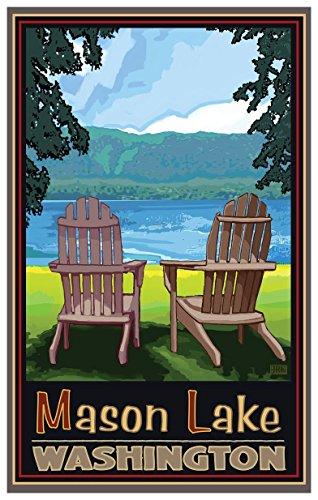 Mason Lake Washington Adirondack Chairs Lake Travel Art Print Poster by Joanne Kollman (12