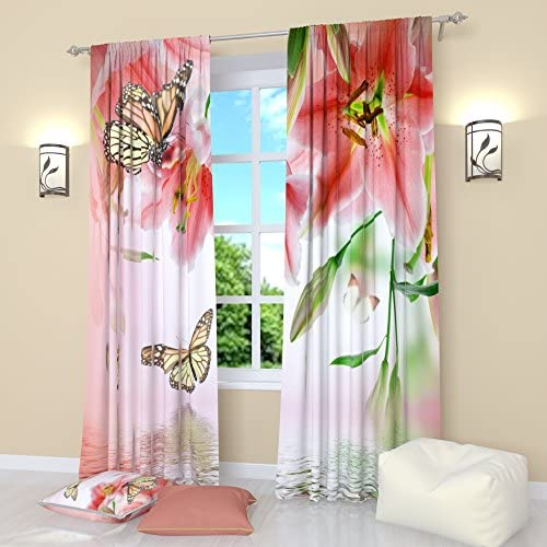 Factory4me Butterfly Window cutrains Lilies in Bloom. Window Curtain Set of 2 Panels Each W52 x L96 Total W104 x L96 inches Drapes for Living Room Bedroom Kitchen