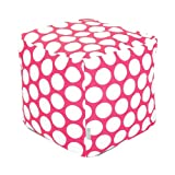 Majestic Home Goods Hot Pink Large Polka Dot Cube, Small