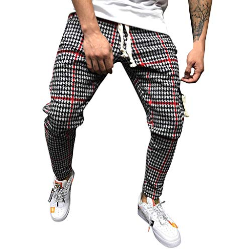 Mens Pants,2019 New Classic Drawstring Plaid Stripe Print Elastic Waist with Pocket (US:30, Red)