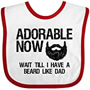 Inktastic - Adorable Now...Wait Till I Have a Beard Like Dad Baby Bib White/Red