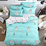 Fantasy Star Happy Childhood Rabbits and Houses Comforter Bedding Set, Print 4 Piece Home Decoration Soft Duvet Cover Set, Include 1 Flat Sheet 1 Duvet Cover and 2 Pillow Cases