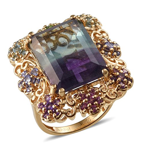 Ring Yellow Fluorite (Multi Fluorite, Multi Gemstone Yellow Gold Plated Silver Cluster Gift Ring For Women 1.6 cttw Size 6)