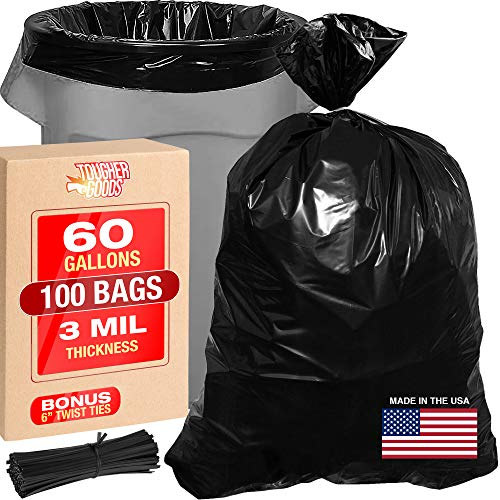 "3 Mil 60 Gallon Contractor Trash Bags - 38""Wx58""H Heavy Duty Black Bags for Garbage and Storage - Super Thick Industrial Grade Trash Bags for Construction, Yard Work, Commercial Use"