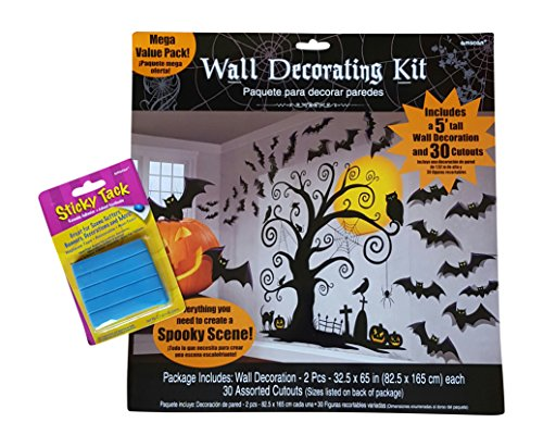 Halloween Wall Decorating Kit with Sticky Tack Adhesive ~ 5 Foot Tall Scene Setter Wall Decoration with 30 cutouts, Plus Sticky Tack (Spooky Halloween Scene For Kids)