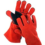 NoCry Heavy Duty Heat Resistant & Flame Retardant Welding & BBQ Gloves, Premium Cowhide Leather, Long 14 inch Forearm Protection, Red