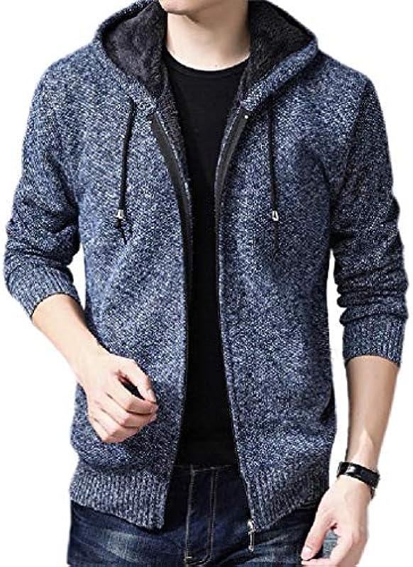 MU2M Men Casual Hoodie Zip Up Knit Cardigan with Fleece Lined: Odzież