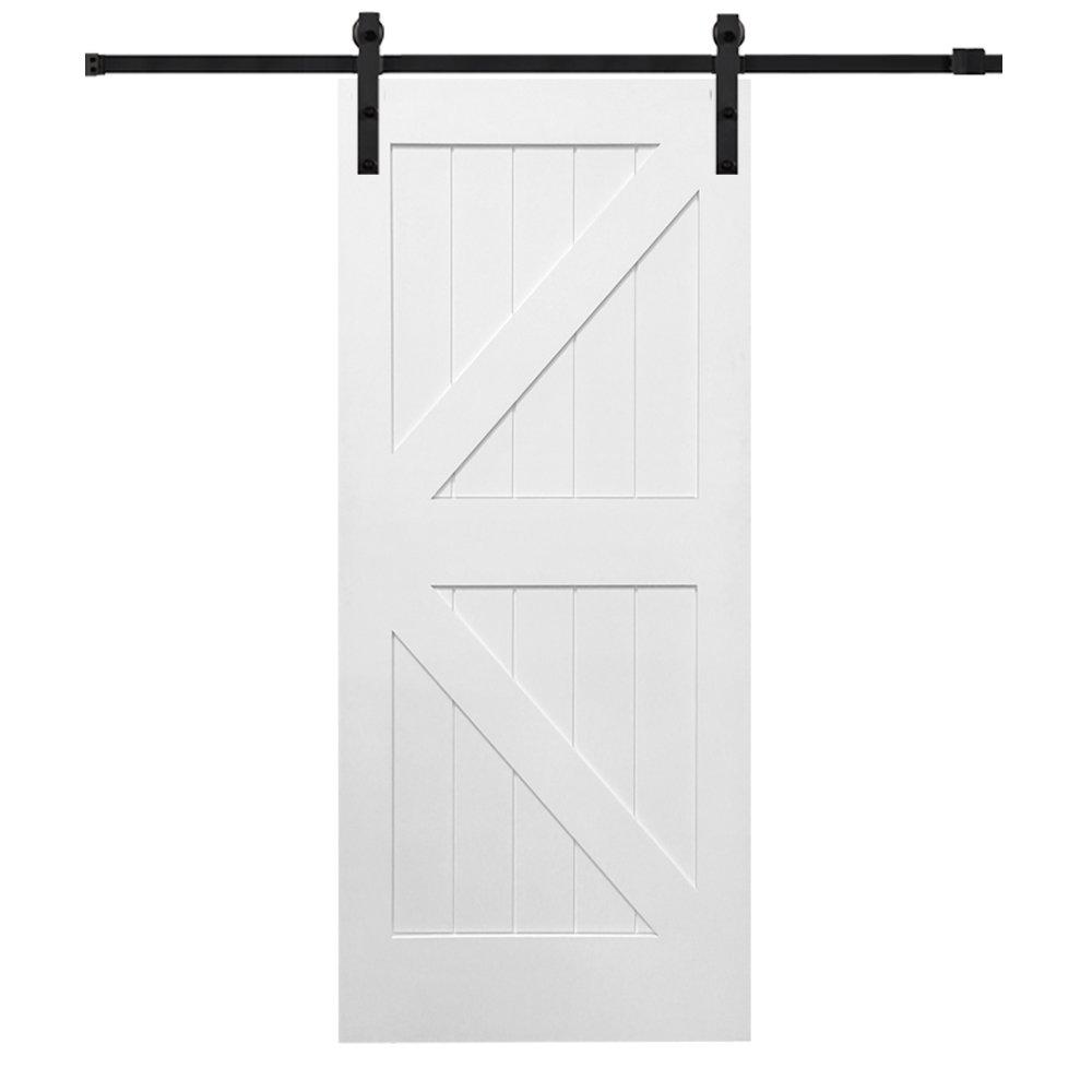 National Door Z0341683 Solid Core MDF K-Bar Planked, Primed, 42'' x 84'', Barn Door Unit