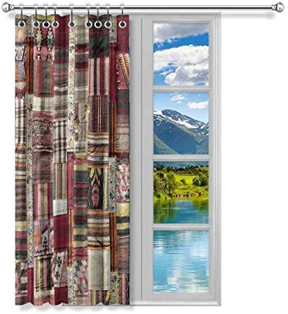 InterestPrint Ethnic Patchwork of Tribal Aztec Turkish Design Blackout Thermal Insulated Curtains Window Treatment Draperies with Hooks for Kitchen Nursery Bathroom, 52 by 63 Length, 1 Panel