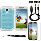 Baby Blue Elegant Diamond Back Cover with Additional Silicone Skin For Samsung Galaxy S4 Android Smartphone 4G LTE (Jelly Bean) + 3.5mm Stereo Audio Cable With Built In Microphone + Samsung Galaxy S4 Screen Guard Protector + an eBigValue ™ Determination Hand Strap