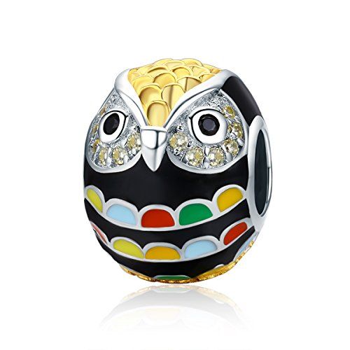 Everbling Wise Owl Wisdom Bird 925 Sterling Silver Bead For European Charm Bracelet (Colorful Owl)