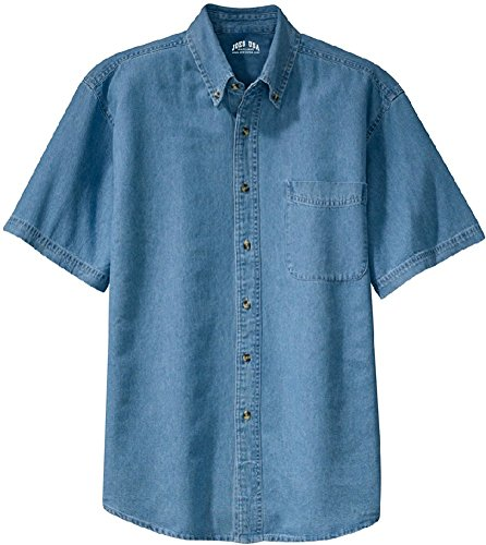 Joe's USA 6.5-Ounce Short Sleeve Denim Shirts in Sizes XS-6XL Faded Blue