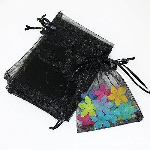100Pcs Thick Drawstring Yarn Bag Jewelry Pouch Wedding Party Pocket Gift Bags Set Black 3x3.5'
