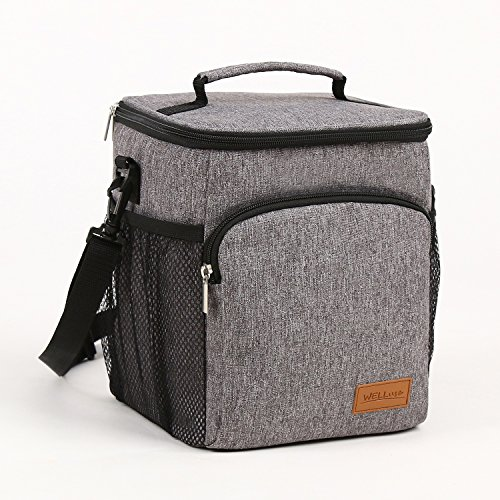 Portable Salad (Insulated Lunch Box: WELLuse Adult Lunch Bag For Work office , Men, Women Thermal Cooler Tote for School Kids Teens Boys Girls With Adjustable Strap, Front Pocket and Side Pocket Grey [Unisex])