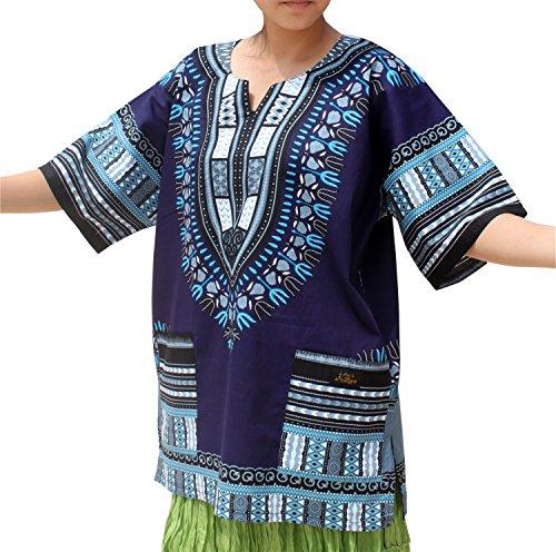 Raan Pah Muang Unisex African Dashiki Kaftan Shirt XS - 7XL, XX-Large, Midnight ()