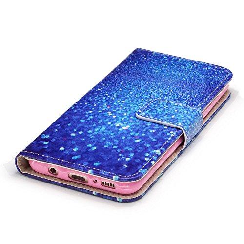 Funda Galaxy S8,SainCat Funda de cuero sintético tipo billetera con correa de cordón de Suave PU Carcasa Con Tapa y Cartera,Ranuras para Tarjetas y Billetera Funda de Flip Ranuras Tarjeta Slots Funció Arena azul