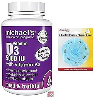 Programas naturista vitamina D3 5000 UI de Michael con tabletas de vitamina K2, cuenta 90