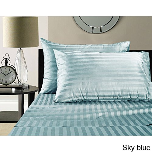 Addy Home Fashions Luxury Egyptian Cotton Sateen 500 Thread Count Extra Deep Pocket Damask Stripe Sheet Set Sky Blue Queen