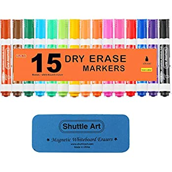 Amazon.com : Dry Erase Markers with Eraser, 15 Colors