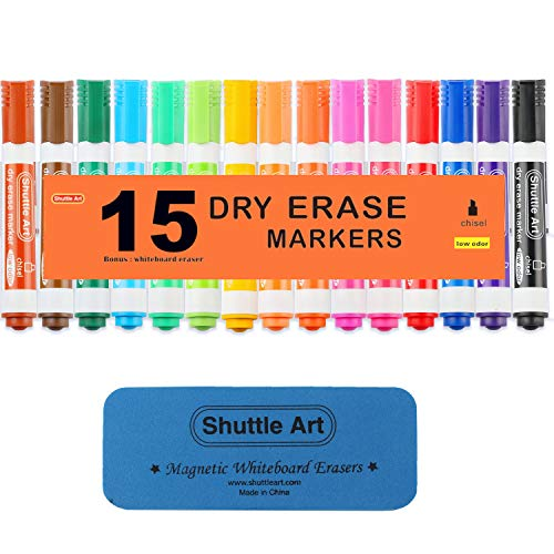 Dry Erase Markers with Eraser, 15 Colors Shuttle Art White Board Markers and Eraser, Low-Odor, Chisel Tip Usable on Whiteboard Surface for School Office Home