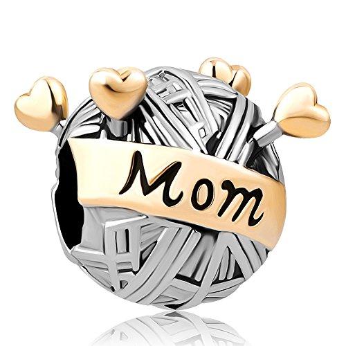 SexyMandala Golden Mom Mother Heart Love Knitting Wool Ball Needles Charms Bead for Bracelet