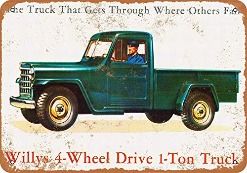 Willys Truck - PaBoe 8 x 12 Metal Sign - Willys 1-Ton Truck - Vintage Decorative Tin Sign