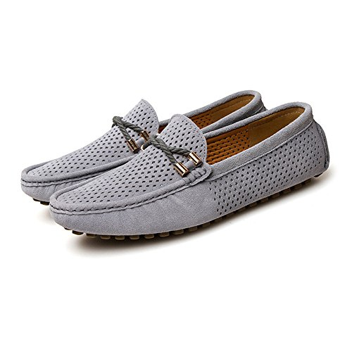 Mocassini Business uomo Color 43 da Flat traspirante Perforazione EU Dimensione Marina Velluto Militare guida Mocassini pelle in Isbxn Grigio Vamp Mocassini Shoes Fashion vera on da Slip RqwxZ85SI