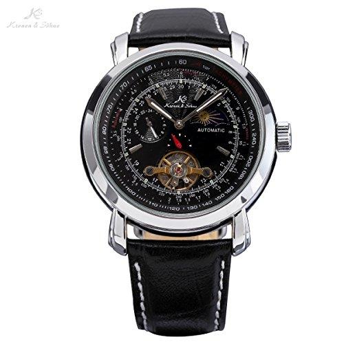 Ks KS068-US2 Mens Luxury Leather Wrist Watch With Tourbillion Moon Phase Automatic Mechanical