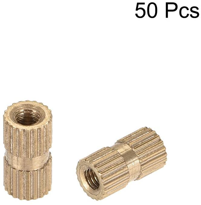 OD uxcell Knurled Insert Nuts Female Thread Brass Embedment Assortment Kit x 3.5mm 100 Pcs L M2.5 x 5mm