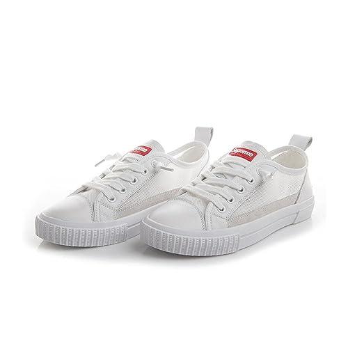 Zapatos de Mujer New Spring Fall PU Zapatos Blancos Pequeños, Bajos Gruesos Botines de Malla, Zapatos Transpirables para Damas: Amazon.es: Zapatos y ...