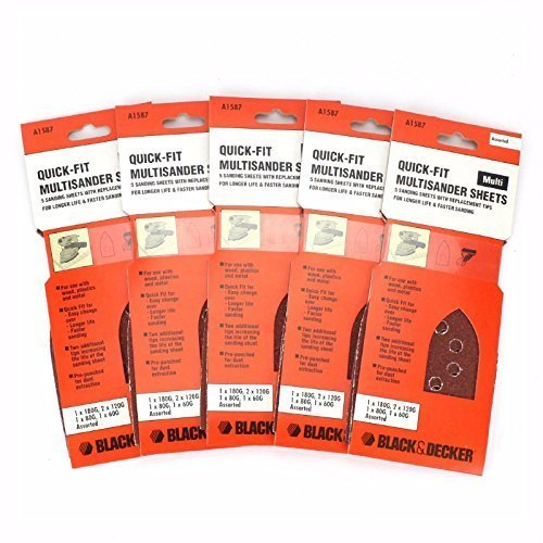 25 BLACK & DECKER Multi Sander Sanding Sheets Assorted Grits KA230E KA272 KA280K