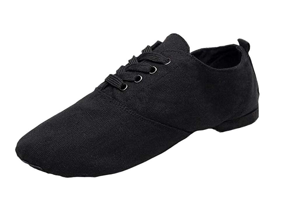 cbed94209be Lace-up Black Jazz Practice Dance Shoes Flat Canvas Boots Split-Sole for  Women