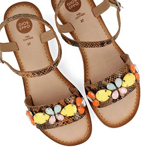 Gioseppo Aleia 39189-30 sandali donna in pelle marrone con pietre e tacco basso