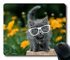 Cat In White Glasses Fashion Masterpiece Limited Design Oblong Mouse Pad by Cases & Mousepads