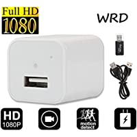 White Hidden Spy Camera 1080P HD USB Wall Charger Spy Camera Adapter Loop Recording Motion Detection 32gb Support